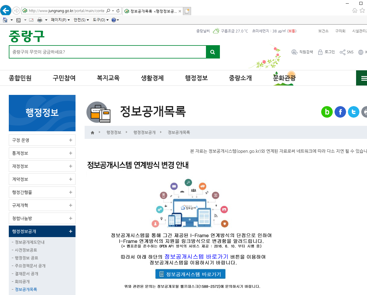 서울시 중량구 정보목록 미공개